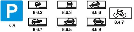 Знак Место стоянки с табличками 8.6.2-8.6.9 'Способ постановки транспортного средства на стоянку' и табличкой 8.4.7 'Вид транспортного средства'